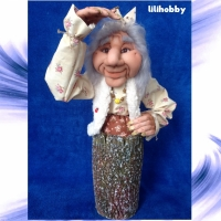 Кукла Баба Яга в ступе Копилка