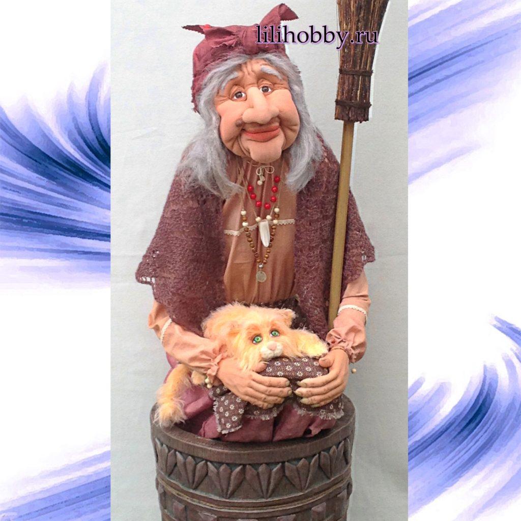 Кукла Баба Яга в ступе большая